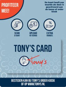 Tony's card korting